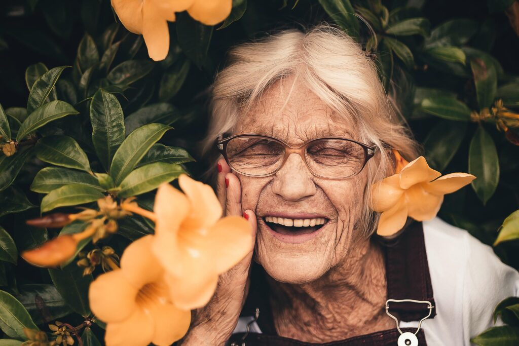 Woman Joyful with Flowers